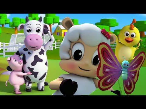 fünf kleine farmees | Springen Reime für Kinder | Lieder für Babys | Five Little Farmees Rhyme