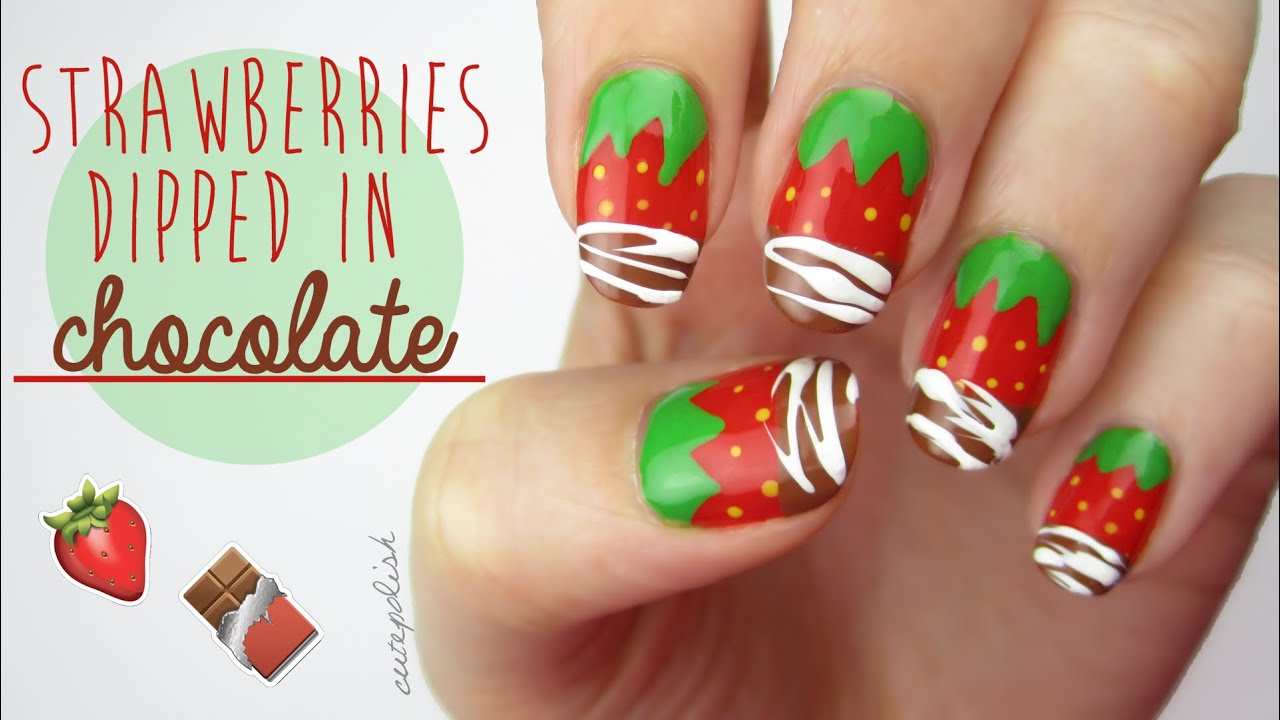 strawberry nails dipped in real
