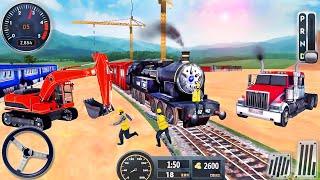 ट्रेन स्टेशन सड़क निर्माण - रेलरोड बिल्डर सिम्युलेटर 2021 - Android GamePlay screenshot 1