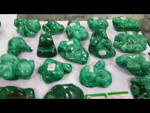 Malachite natural polished rough and malachite clusters