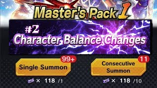 CHARACTER BALANCE CHANGES #2 & 110 TICKETS ON MASTERS PACK #1 BANNER!! | Dragon Ball Legends