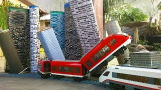 Lego train wreck. Crooks stole the tracks