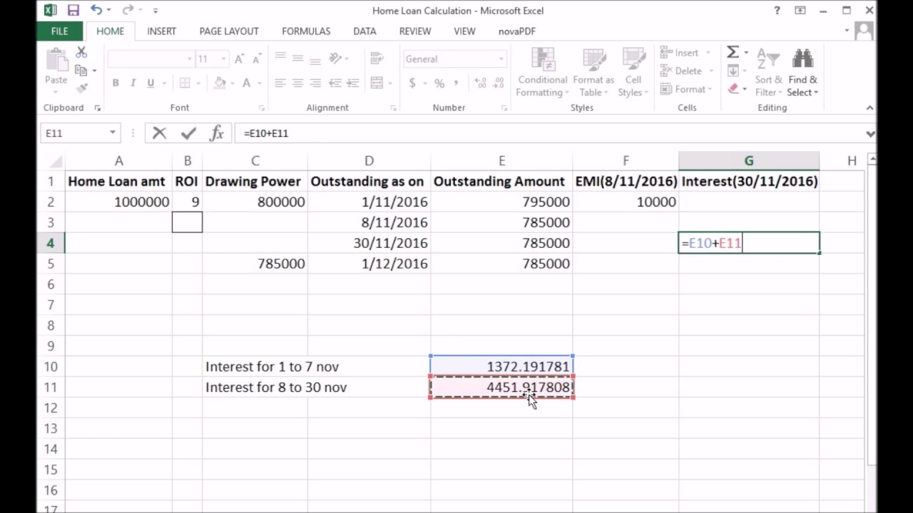 how to calculate home loan interest-english