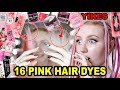 DYING MY HAIR PINK USING 16 DIFFERENT PINK HAIR DYES!!! (to find the BEST pink hair dye) PART 2