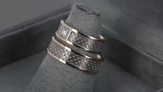 Стильные обручальные кольца из белого золота с бриллиантом