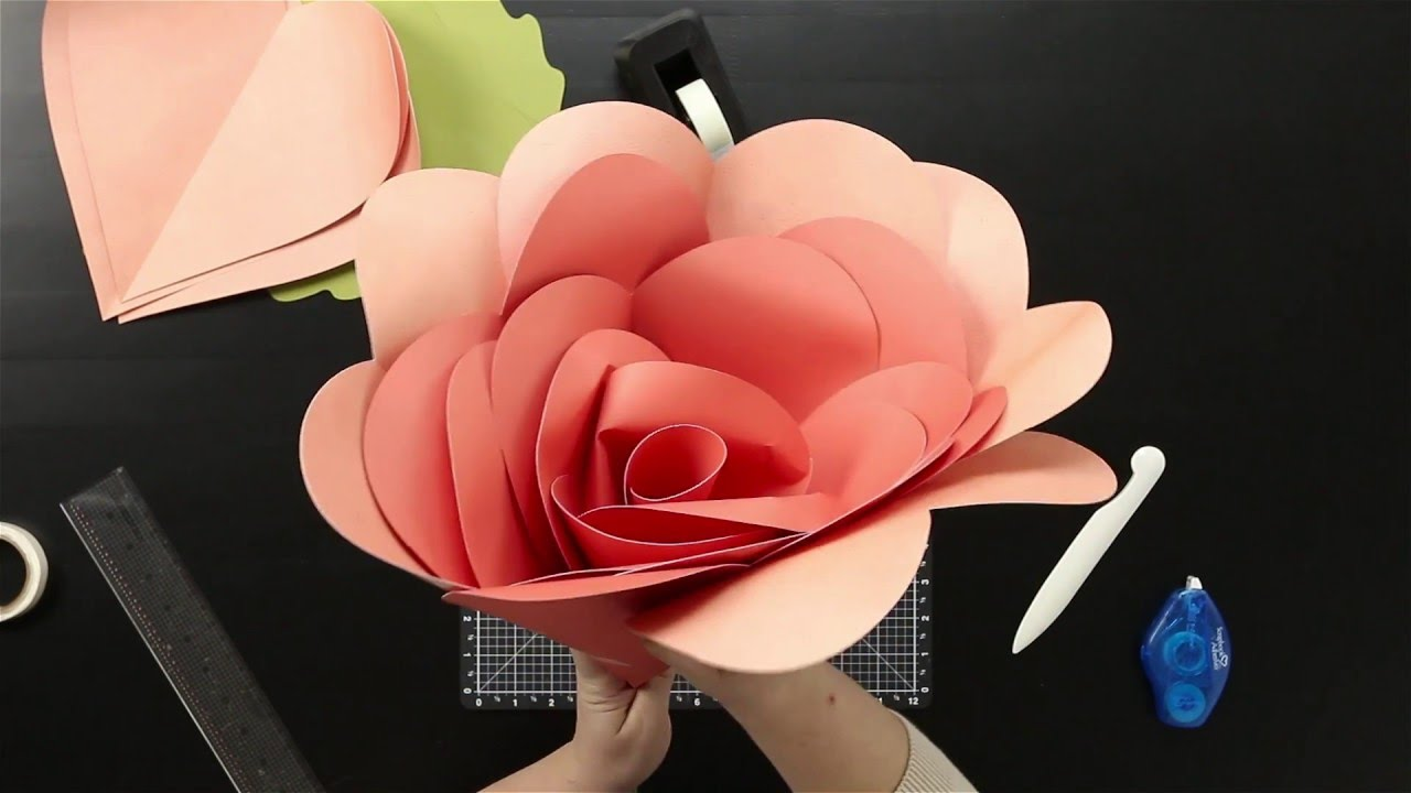 How To Make A Large Paper Flower Youtube