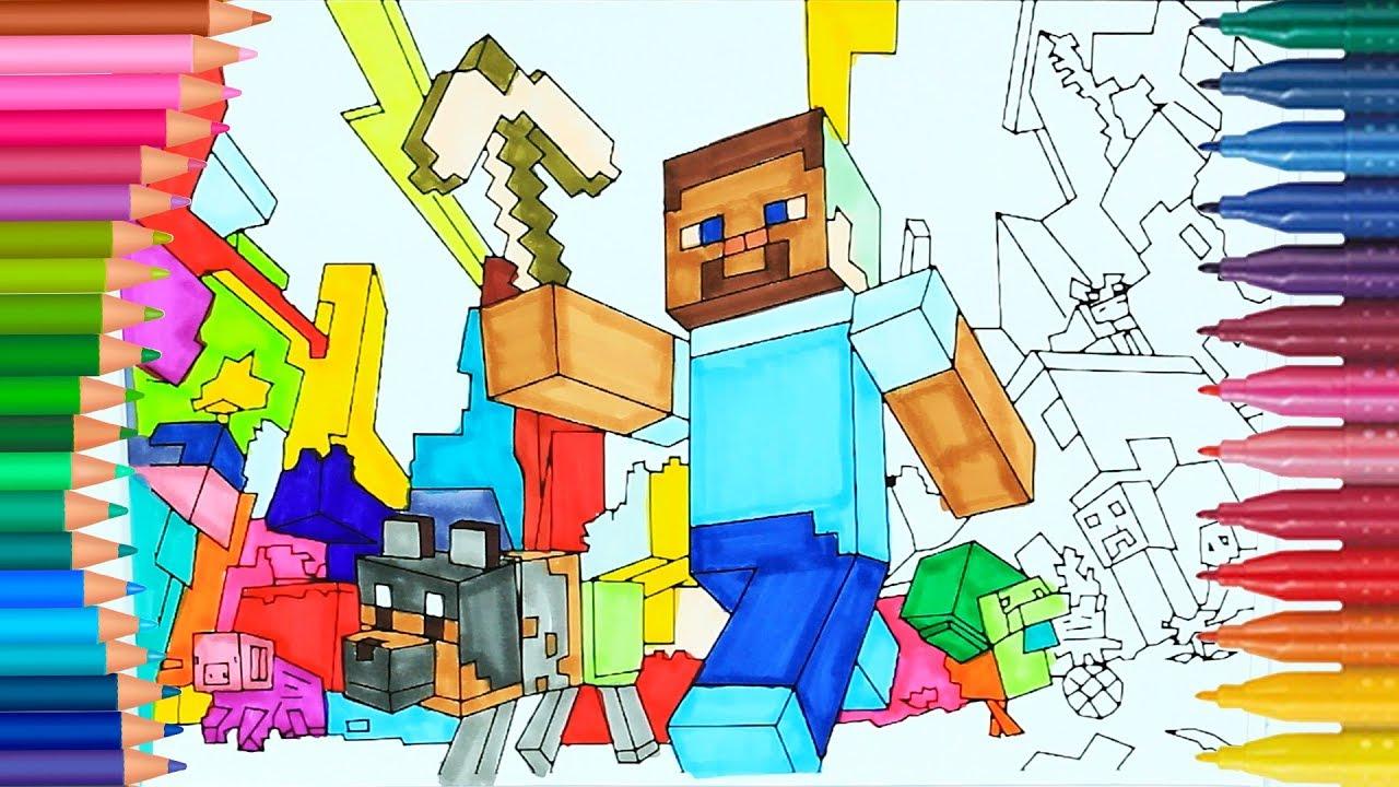Minecraft Steve Ve Köpek Boyamalar Boyama Kitabı Rainbow
