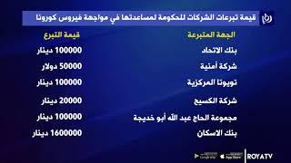 شركات أردنية تتبرع لدعم جهود مكافحة كورونا 118/3/2020