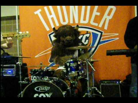 Oklahoma City Thunder Mascot Rumble Jamming with the Band