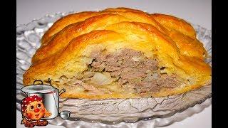 Слоеный пирог с фаршем и картошкой.