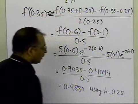 Richardson's Extrapolation Formula for Differentiation: Example