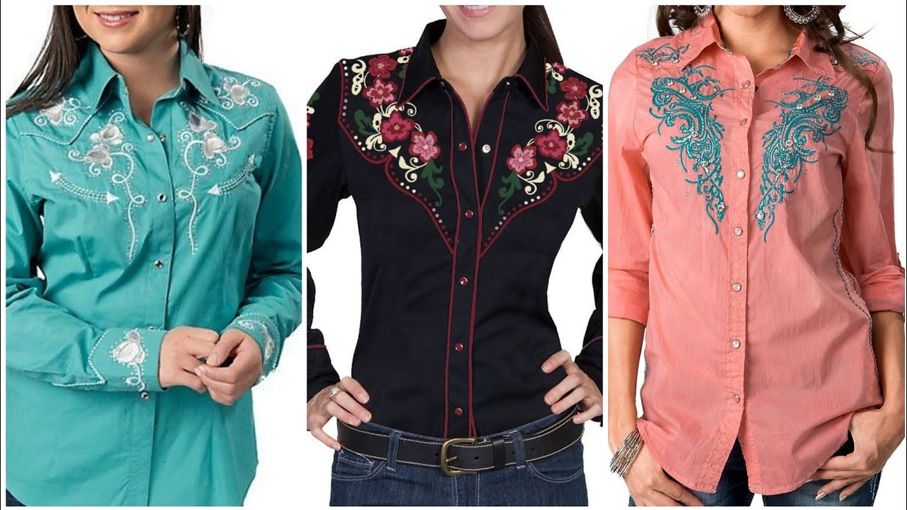 Very Attractive Embroidered Casual Wear Cotton Dress Shirts Collection For Ladies 2021