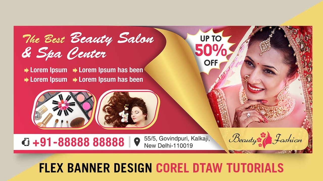 Flex Banner Design Idea Hindi Shop Billboard Banner Design In Corel Draw Tutorials Youtube
