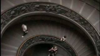 Descending the spiral exit ramp at the Vatican Museum
