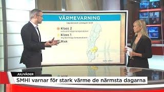 SMHI varnar för höga temperaturer framöver - Nyheterna (TV4)
