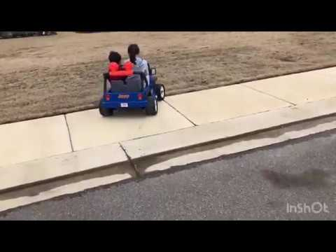 Driving Jeep power wheel fun!checking Engine Fun! Pretend play fun! Leon's Family Fun Review!