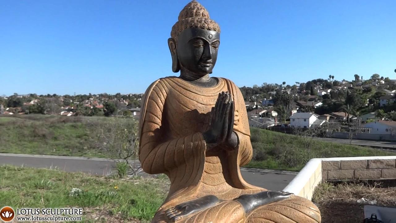 Namaste Buddha Stone Garden Statue On Throne Lotussculpture
