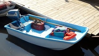 8ft Fiberglass Boat with motor for sale