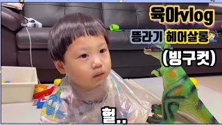 [vlog]빙구컷??♂️/열감기?/놀이터전쟁/육아전쟁…
