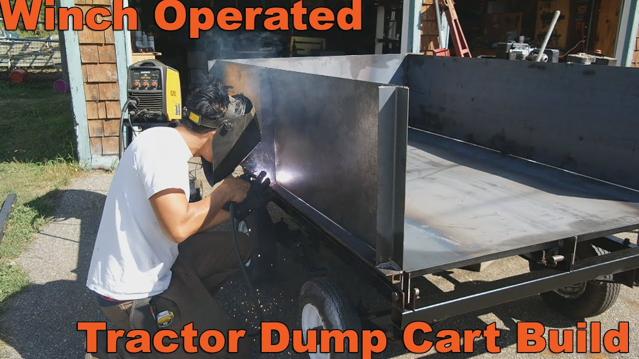 winch powered dump trailer build for lawn and garden tractors youtube - Garden Tractor Trailer