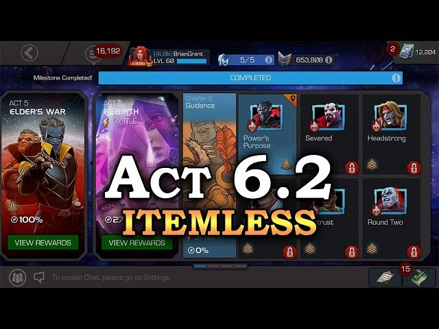 Act 6.2 - Itemless - Part 1 (no big D - see description) | Marvel Contest of Champions Live Stream
