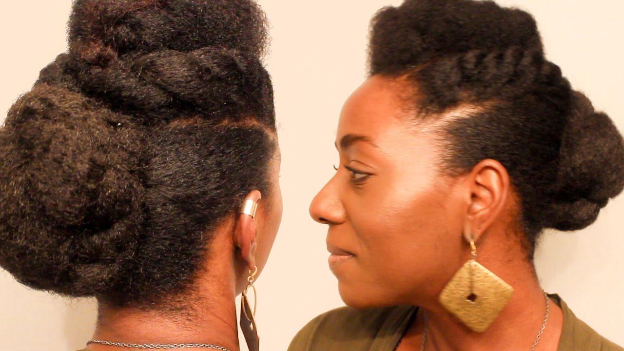 3 Updos Using Braiding Hair | faux bun natural updo with ...