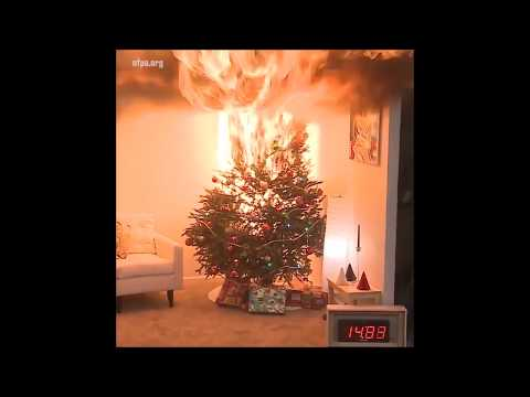 Christmas tree on fire in 30 seconds