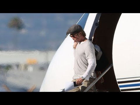 Brad Pitt Touches Down In LA At His Private Jet