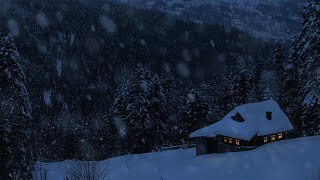 Relaxing Snow Falling and Wind Blowing Sounds in a Winter Landscape with an Old Cozy Mountain Cabin