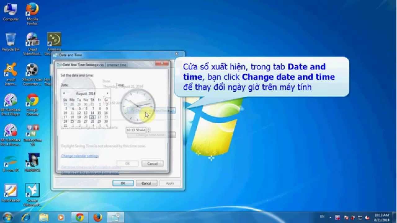 Cách thay đổi ngày giờ trên máy tính
