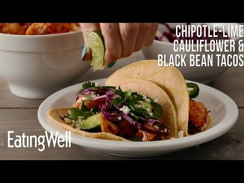 Chipotle-Lime Cauliflower & Black Bean Tacos | EatingWell