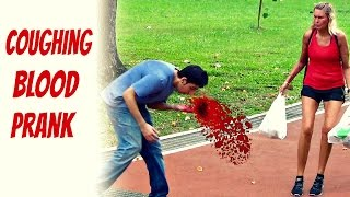 Coughing blood in public prank - Social experiment