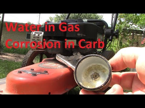 Water in gas and corrosion in carburetor, How to get mower running again.