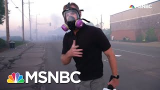See Flash-Bangs Go Off Near NBC News Reporter As Minneapolis Protesters Retreat | MSNBC