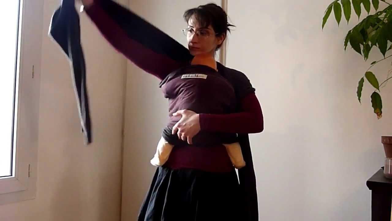 Portage en enveloppé-croisé ventre avec une écharpe JPMBB courte - YouTube 1075fc38a36