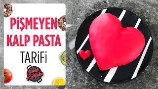 Kolay Şekilli Doğum Günü Pastası Pişmeyen Kalp Pasta Tarifi