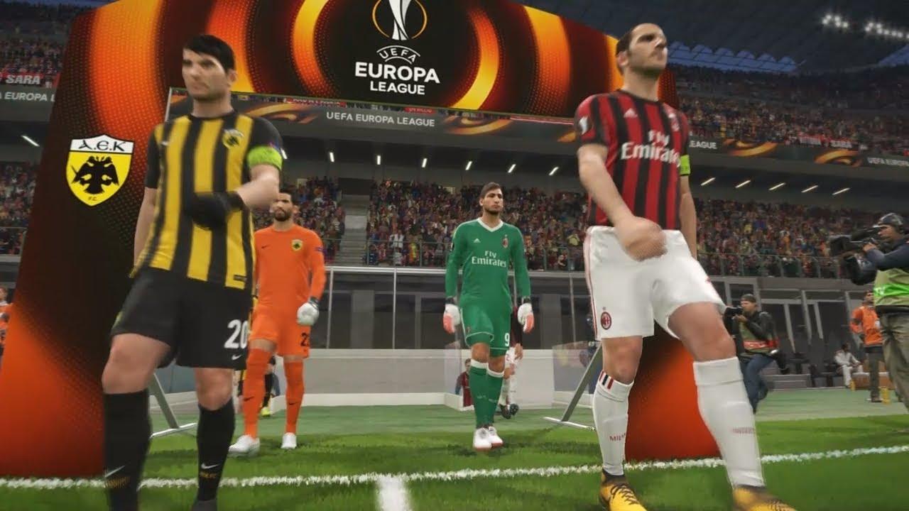PES 2018 UEFA Europa League (A.C. Milan Vs AEK Athens F.C. Gameplay)