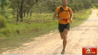 Man running across Australia