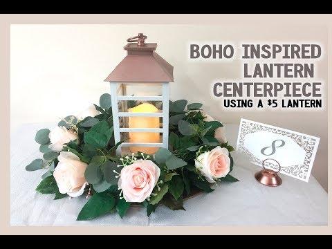 DIY Boho Lantern Wedding Centerpiece   Easy + Cheap