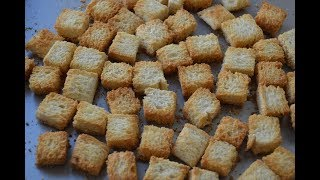Croutons | Homemade croutons | How to make croutons | Plain Toasted Croutons recipe
