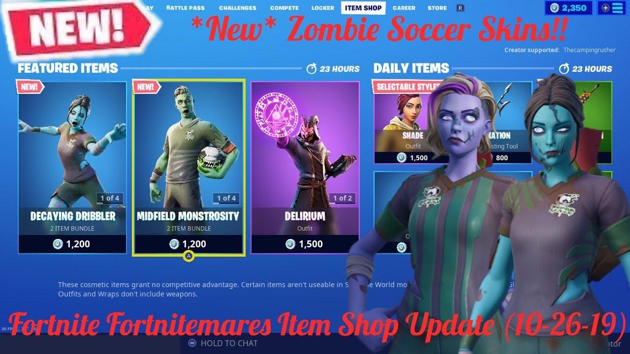 New Zombie Soccer Skins New Fortnitemares Item Shop Update Fortnite Battle Royale October 26th