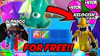 GIVING THE *BEST PLAYER* 🏆KELOGISH🏆 *FREE* (SHINY) SECRET PETS!! Bubble Gum Simulator (Roblox)