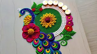 Peacock rangoli designs for gudi padava/satisfying Sand art