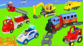 Excavator, Tractor, Fire Truck & Police Cars Toy Vehicles for Kids