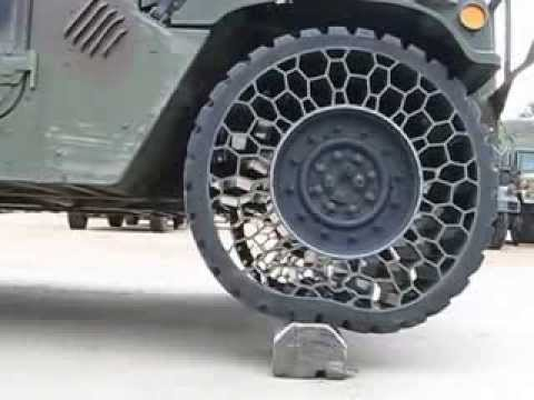 Airless tire test Humvee vs Hummer 360p