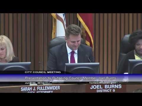 Council Farewell for Joel Burns