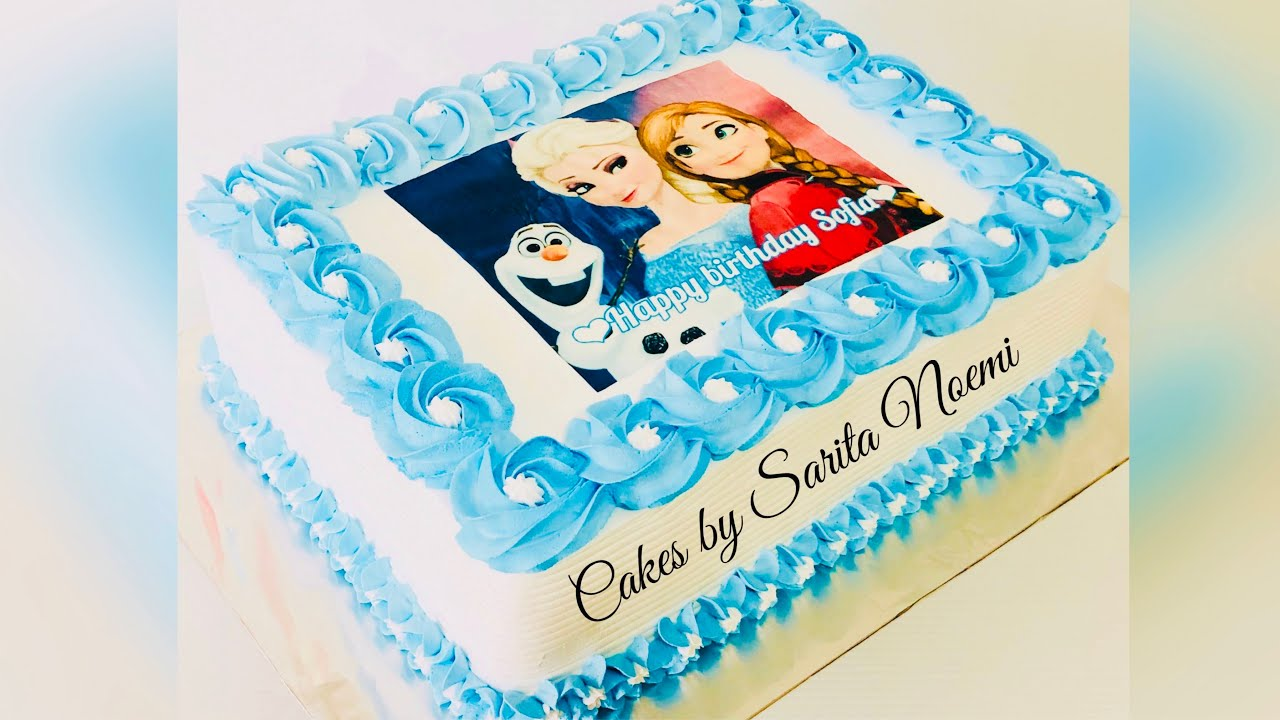 Como Decorar Un Pastel De Frozen Con Papel De Arroz How To Decorate Frozen Cake With Edible Paper Youtube
