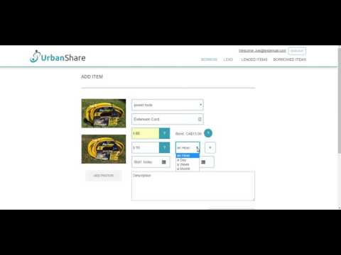 How To Lend An Item - Urbanshare - Vancouver's Newest Online Lending & Borrowing Marketplace
