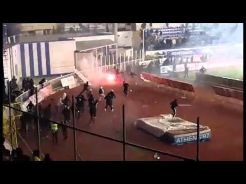 Clashes at the end of the match Atromitos - AEK Athens 07.02.2016