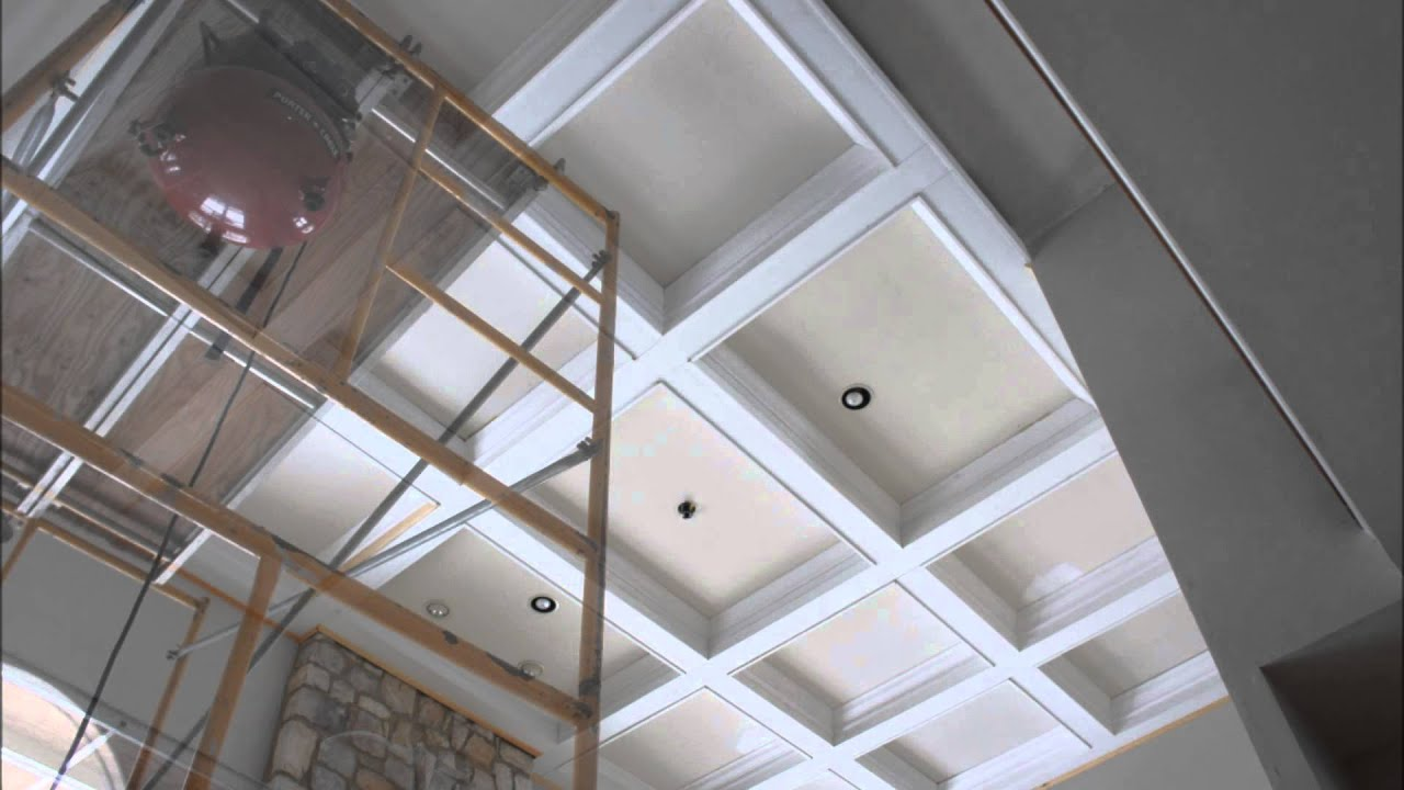 Coffered ceiling youtube for Foam coffered ceiling
